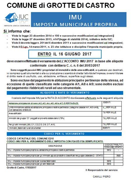Comune di grotte di castro for Aliquote iva in vigore 2017